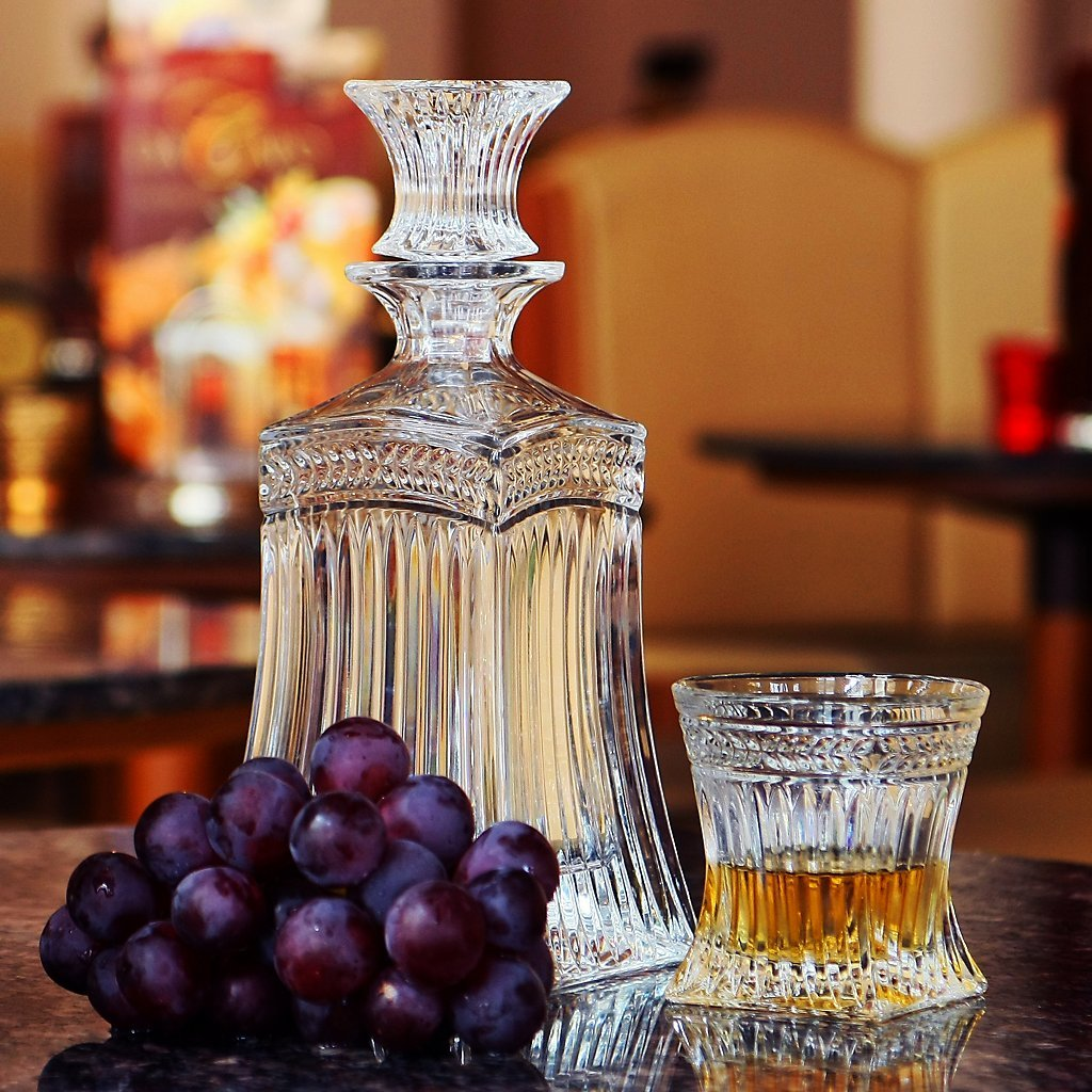 Cristalica Whiskey glass with Cut IMPERIAL 200 ml, transparent, lead crystal glass, modern style KINGDOM powered by