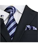 Landisun Streifen Männer Seide Krawatten Set
