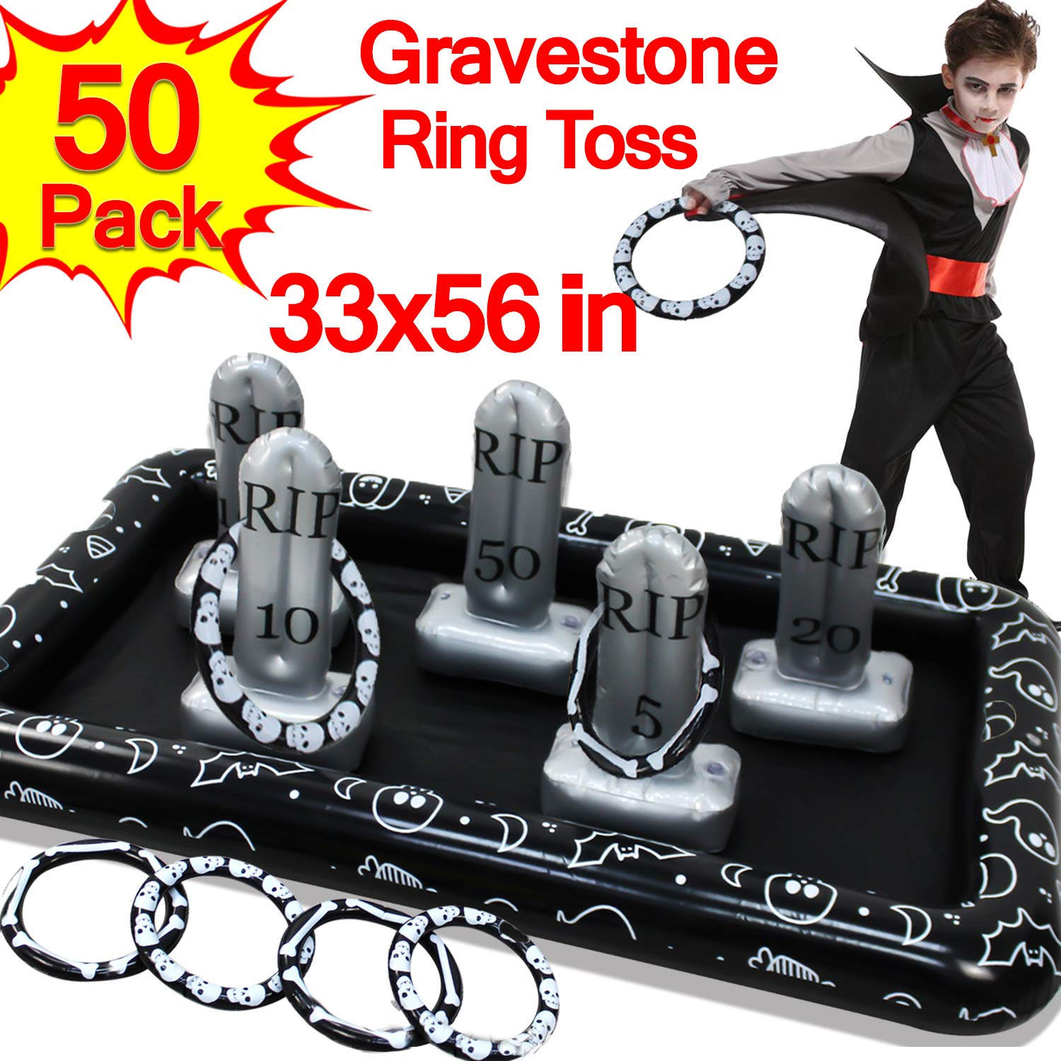 Halloween Party Favors for Kids Blow up 56in Inflatable Spider Tombstone Gravestone Ring Toss Games Headstone Halloween Party Decoration Outdoor Indoor Yard Halloween Creepy Spooky Game Supplies by Camlinbo