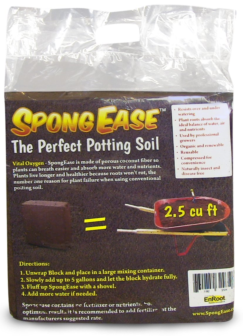 SpongEase Coconut Coir Compressed Block 5 kg (11 lbs) expands to 18.7 Gallons (2.5 Cu Ft) - Ideal Growing Medium for potting mix - Healthy roots, Healthy plants and Bountiful Harvest