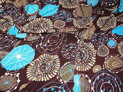 Marrón/Turquesa Impresión Vestido De Poliéster/Lycra Jersey funda tela – por metro