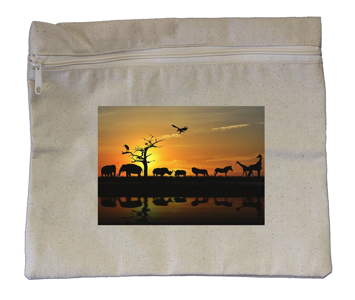 Canvas Zipper Pouch Tote Bag 10''X12'' African Animals Style In Print