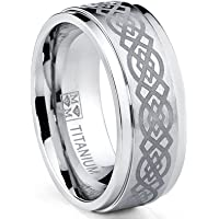Ultimate Metals Co. Men's Titanium Wedding Band Ring with Laser Etched Celtic Design, 9mm Comfort Fit