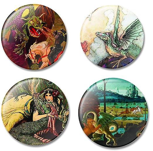Imán de nevera arte dragones en historia del arte, juego de 4 ...