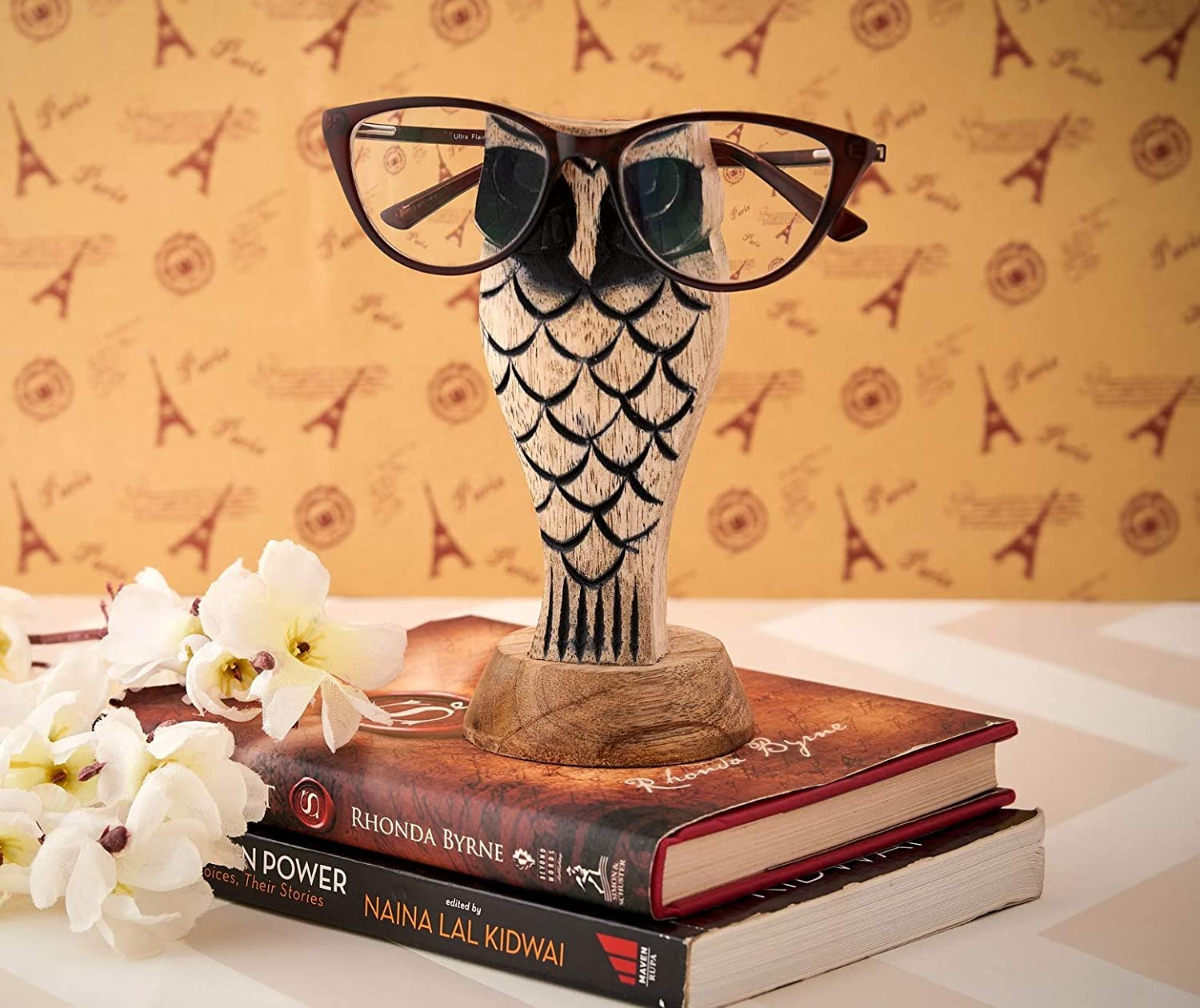 Eximious India Owl Eyeglass Holder Spectacle Holder Wooden Handmade Bedside Display Home and Office Decor Desk Eyeglasses Holder Glasses Stand Gifts for Kids Him Her Mom Dad Eyeglass Retainers for Men