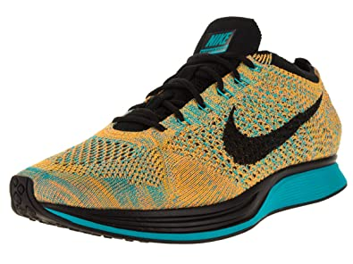 wholesale dealer b6378 12c15 Nike Unisex Flyknit Racer Bright CitrusBlackBl Lagoon Running Shoe 10.5  Men US
