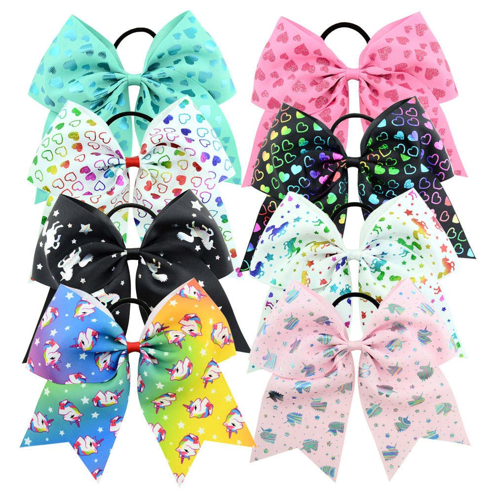 8pcs 8 Inch Colorful Bow Hair Ties, Unicorn & Shining Heart Pattern Ponytail Holders, Chosen High Quality Grosgrain Ribbon Hairband, Elastic Hair Ties Hair Bows for Girls Belking