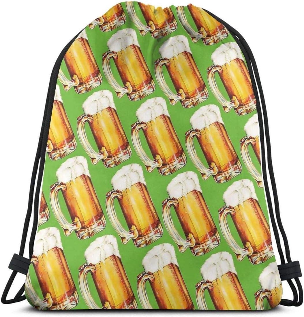 OPLKJ Bolsas con cordón de gimnasio, jarras de cerveza Mochila de mano Mochila para mujeres Hombres Bolsa de bolsa de gimnasio para natación de gimnasio Bolsa de almacenamiento de traje de baño