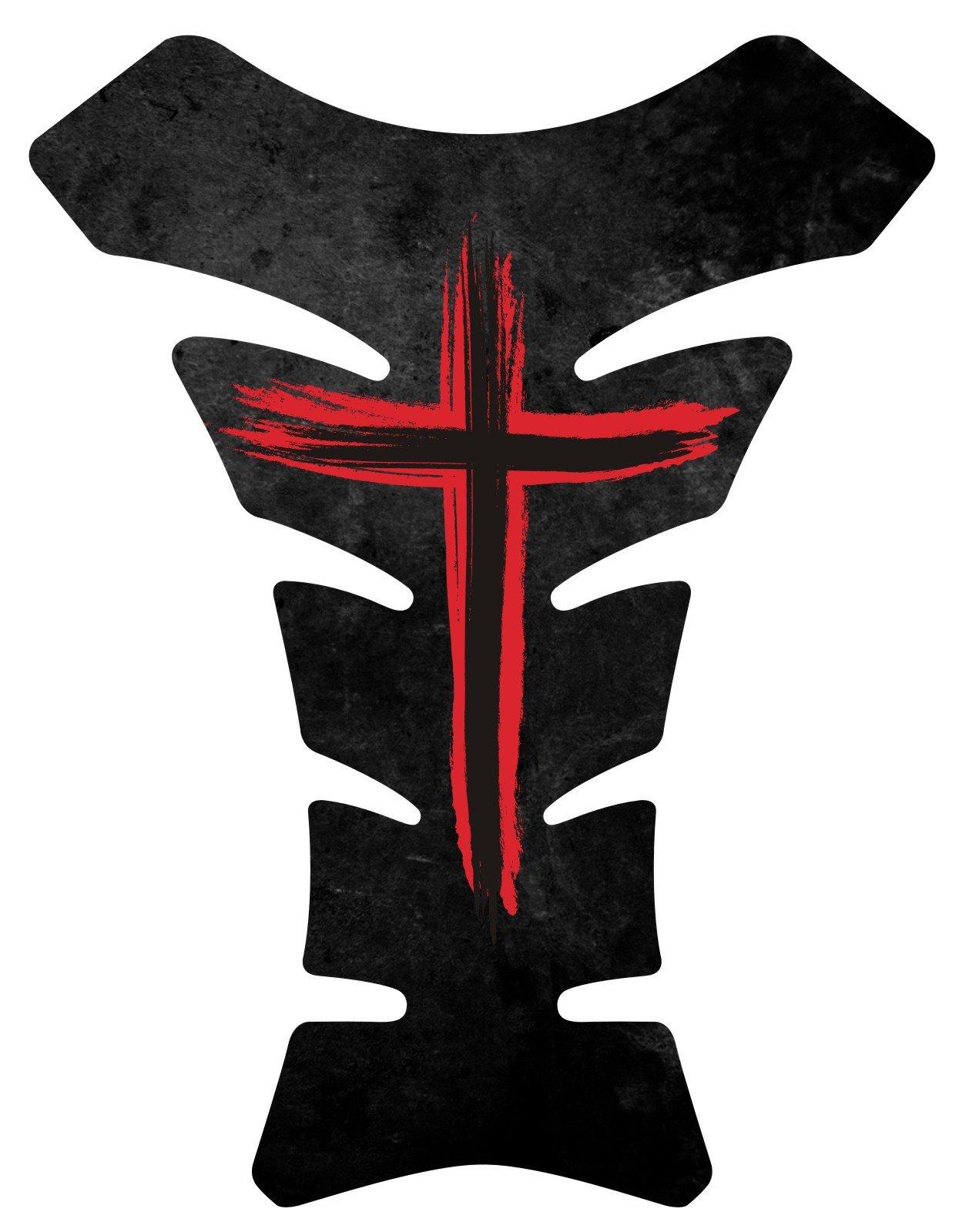 Size is 8.5 in tall x 6.5 in wide Jesus Christian Cross Black Red Gel Motorcycle Gas Tankpad Kawasaki Ninja ZX Suzuki GSXR Honda CBR Yamaha YZF Triumph Motorcycle TanK pad Decal Sticker