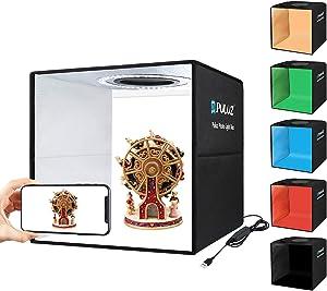 Photo Studio Box, PULUZ Mini Folding Lightbox LED Ring Light Portable Photo Studio Photography Shooting Tent Box Kit 12 Colors Backdrops USB Light Box for Phones DSLR Camera (11.8 x 11.8 inch)