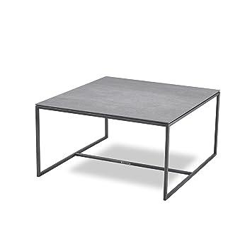 Massimilano Couchtisch Edelstahl Iron Grey Keramik Tischplatte