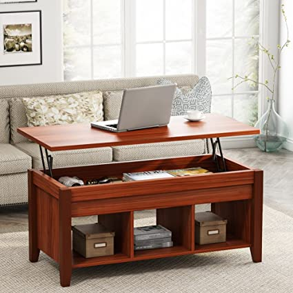 LITTLE TREE Lift Top Coffee Table With Hidden Storage Compartment And Open  Shelf For Living Room