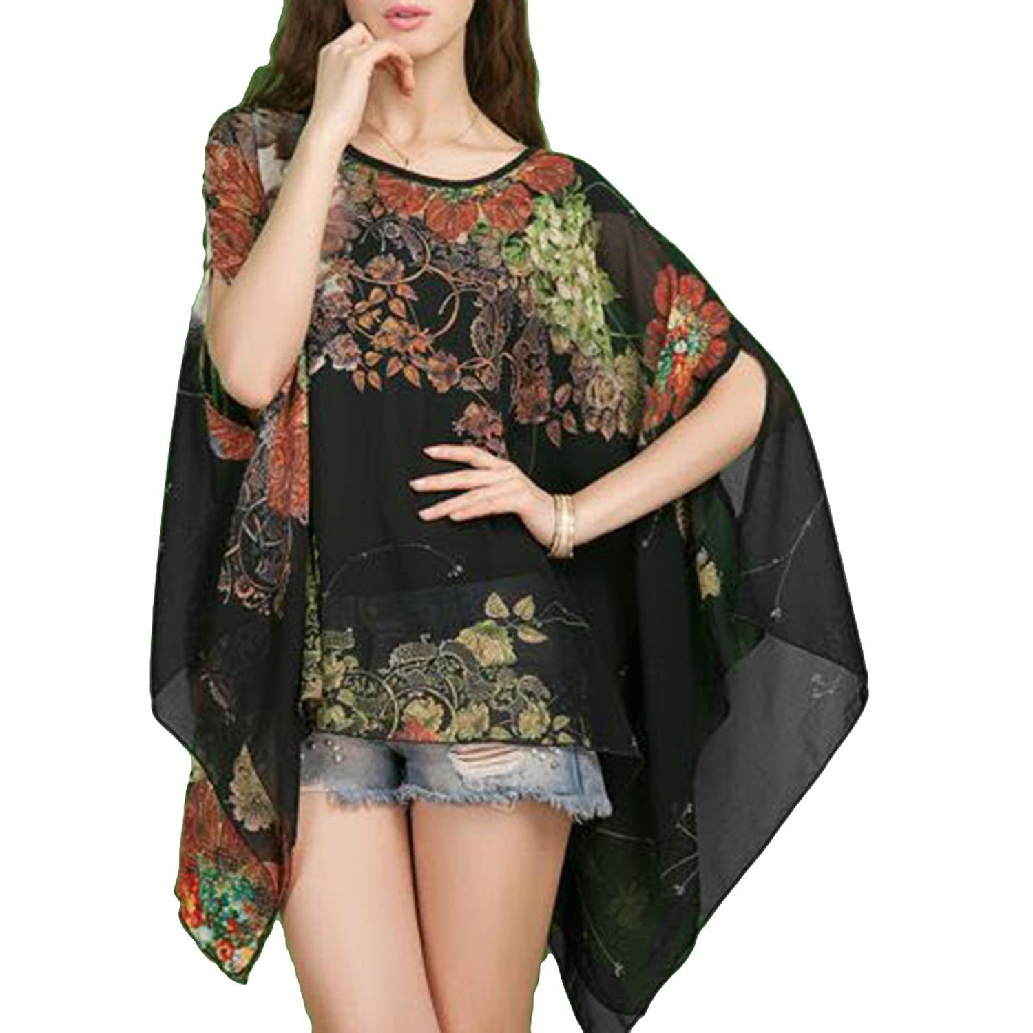 iNewbetter Women's Chiffon Caftan Poncho Tunic Top Cover up One Size Scarf Top (Black)