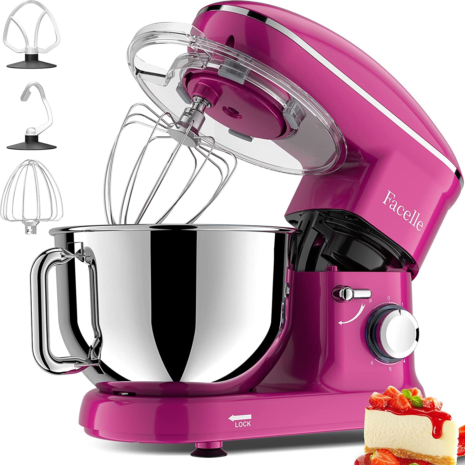 Facelle Stand Mixer, 660W 6-Speed Tilt-Head Food Mixers Kitchen Electric Stand Mixer with 5.8QT Stainless Steel Bowl, Dough Hook, Flat Beater, Whisk, Splash Guard, for Baking, Cakes, Cookie (Purple)