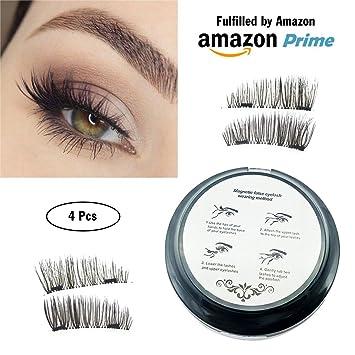 4e0d710c909 Amazon.com : Prime Magnetic False Eyelashes - 4 Pack Ultra Thin - Premium  Quality 3D Fiber Lashes - No Glue - Reusable Extension Fake Lashes : Beauty