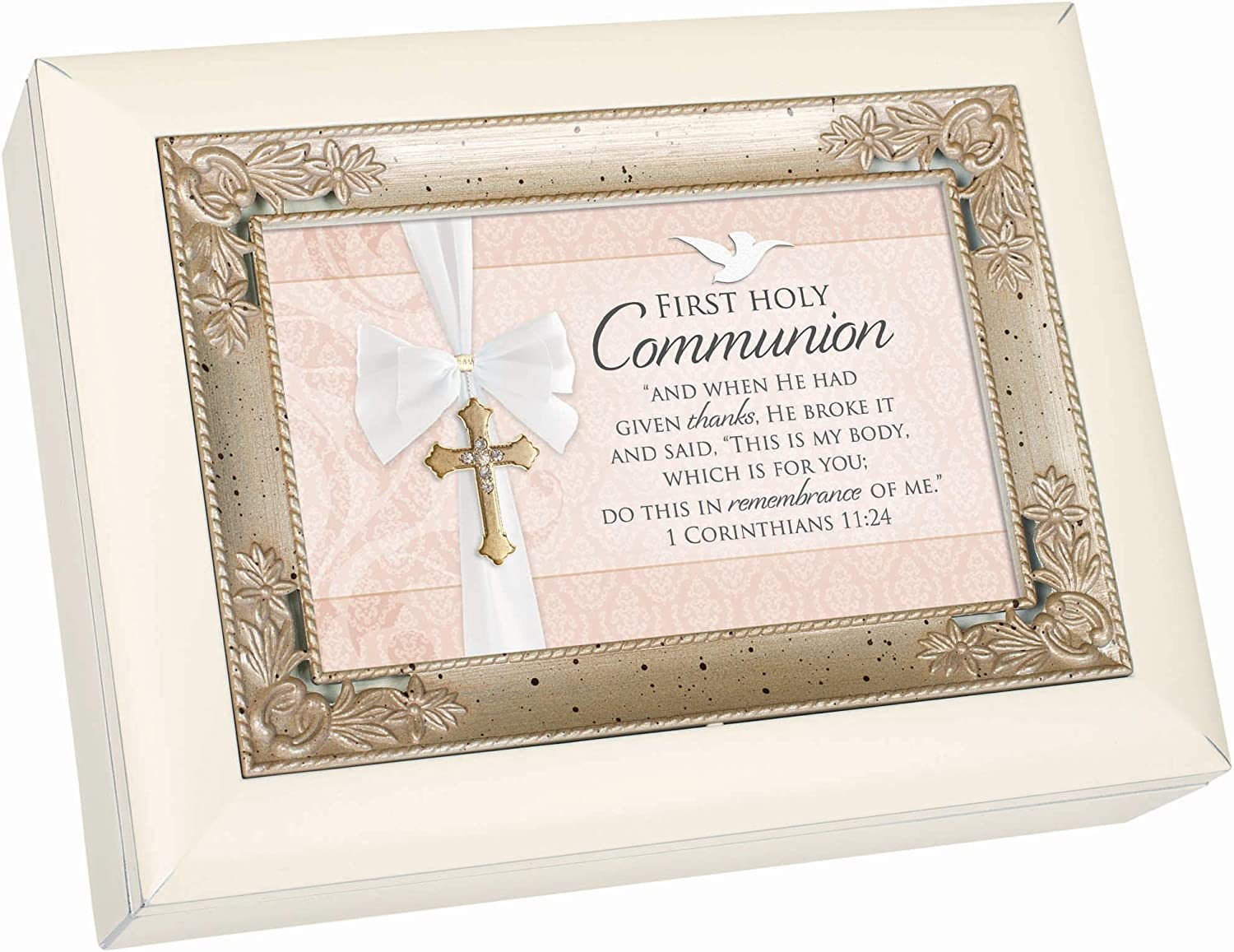 Cottage Garden First Holy Communion Given Thanks Remembrance of Me White Italian Style Music Box Plays Ave Maria