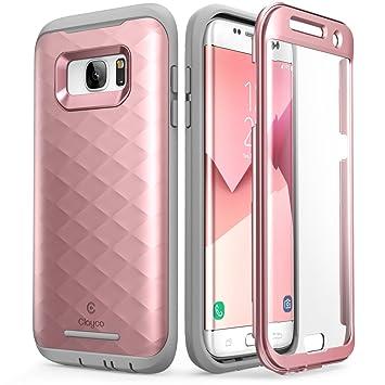 Clayco Carcasa Galaxy S7 Edge, [Hera Series] Funda Resistente con Protector de Pantalla Integrado para Samsung Galaxy S7 Edge (Rosado/Dorado)