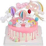 EKKONG Tortendeko Geburtstag, Cake Topper Einhorn Tortendekoration kuchendeko, 14er Set einschließlich Regenbogen, Ballon, Einhorn, Happy Birthday, Wolke für Kinder Geburtstag Baby Shower Party