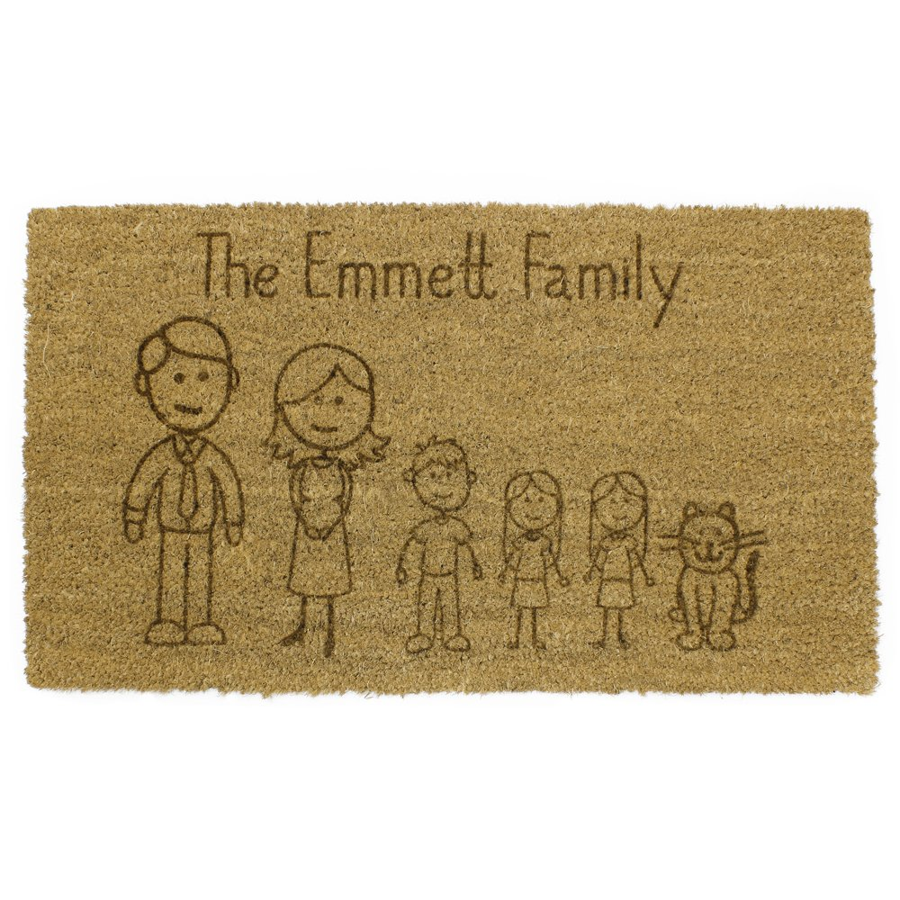 JVL Cartoon Family Personalised Laser Printed Custom Coir Door Mat, 40 x 60 cm