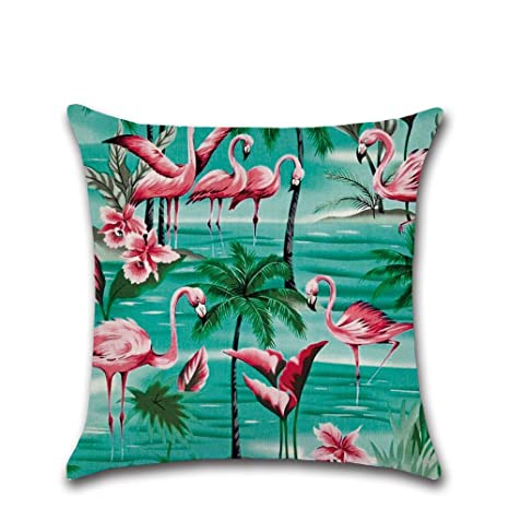 Excelsio - Funda de cojín de Flamenco Rosa Tropical para sofá, Cama, Sala de Estar, Dormitorio, decoración del hogar, Personalizable, Cuadrada, ...