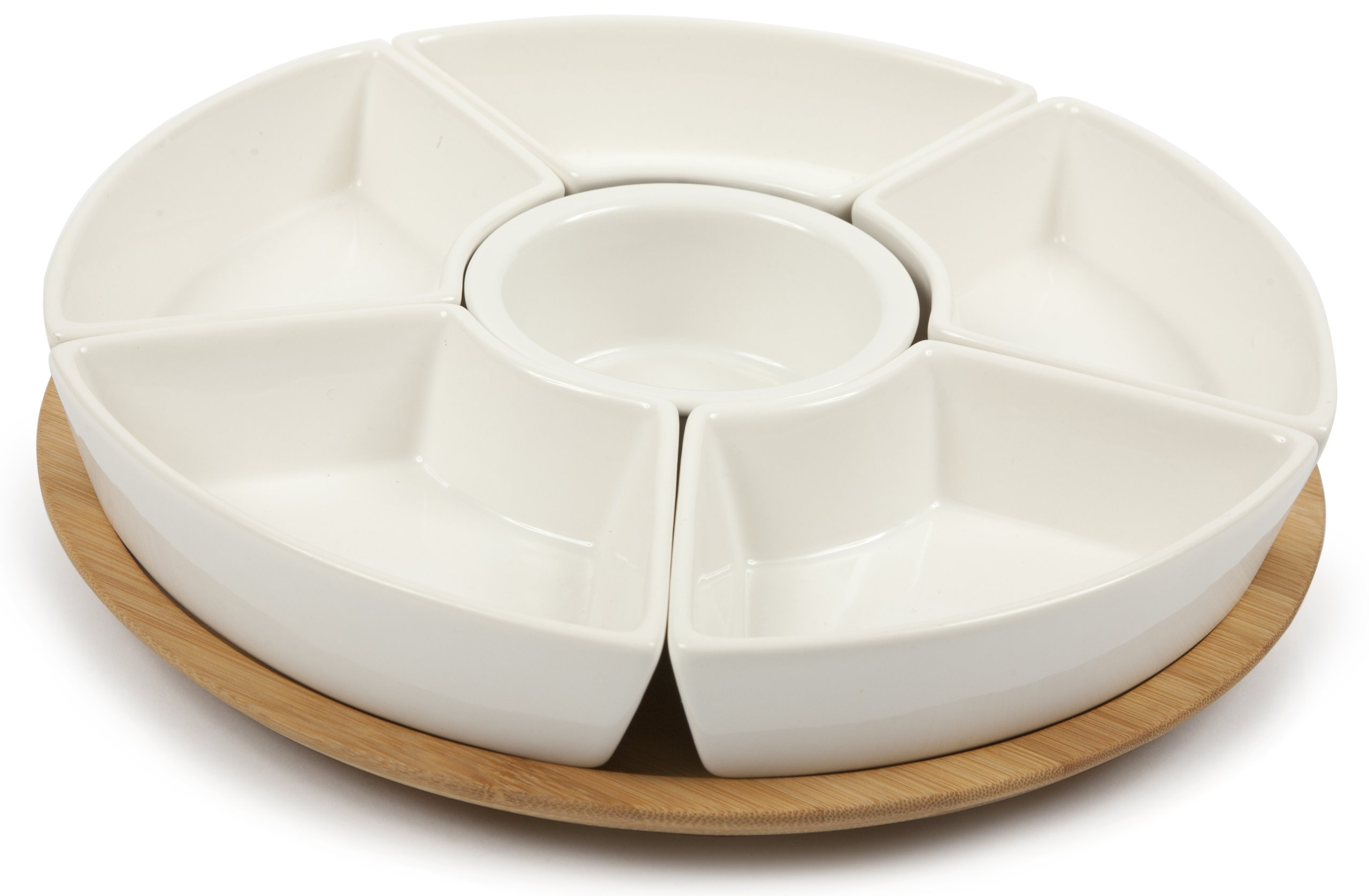 Core Bamboo Perfectly Rounded 5-Part Entertainment Set, Natural/White