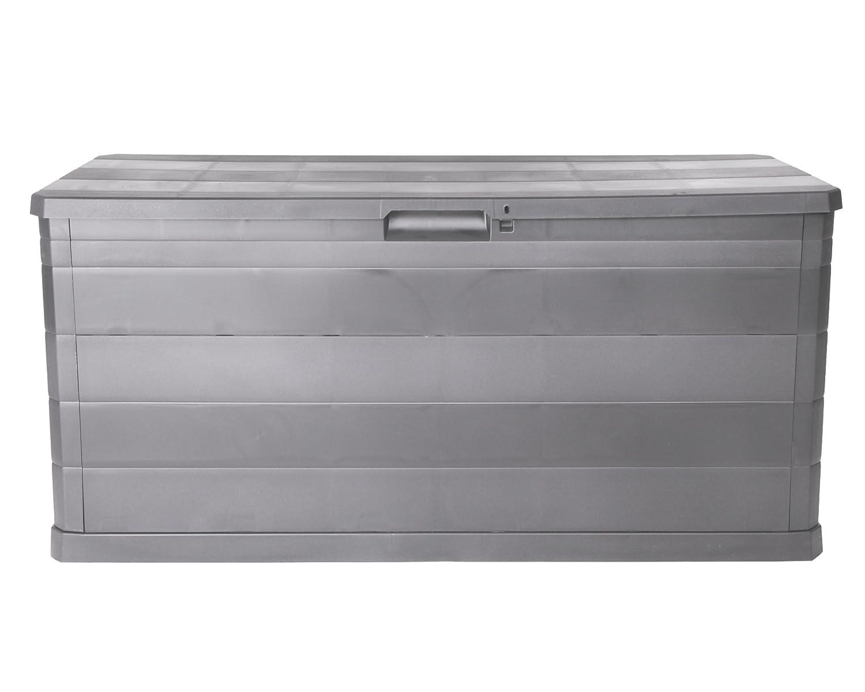Ondis24 Kissenbox Auflagenbox Gartentruhe Terrassenbox Elegance warmgrau abschließbar