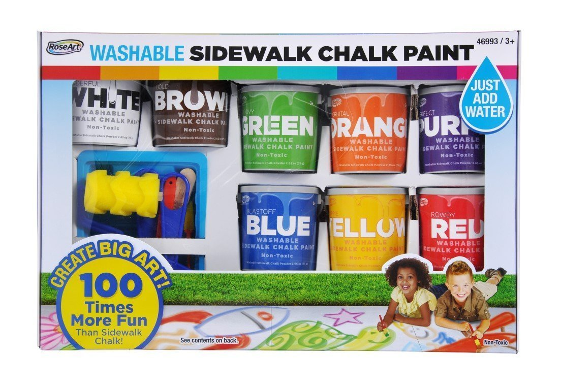 Rose Art Washable Sidewalk Chalk Paint, Big Super Set with 8 Colors & 2 Foam Brushes
