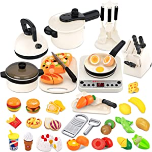 VEARMOAD 50PCS Pretend Play Kitchen Toys, Cutting Play Food Toy Cooking Cookware Toys Set with Steam Pressure Pot, Cooking Utensils, Toy Cutlery and Shopping Bag for Kids Toddlers Girls Boys Gift