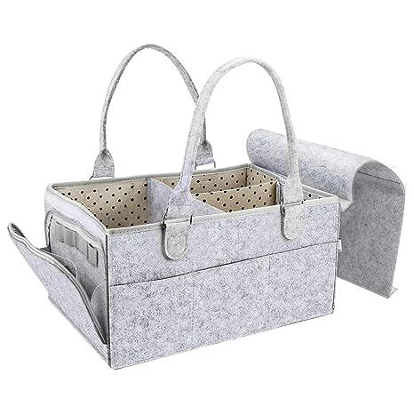 Pañales Organizador CestMall, Carrito de pañales para bebés Bolso de mano portátil de fieltro, Guardería de almacenamiento y organizador para los ...
