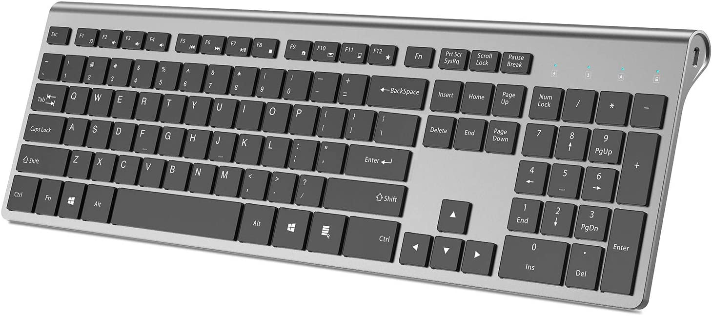 Wireless Keyboard,J JOYACCESS Full Size Rechargeable Quiet Thin Keyboard Wireless for Laptop,Computer,Desktop,PC,Surface,Smart TV and Windows,Black and Gray