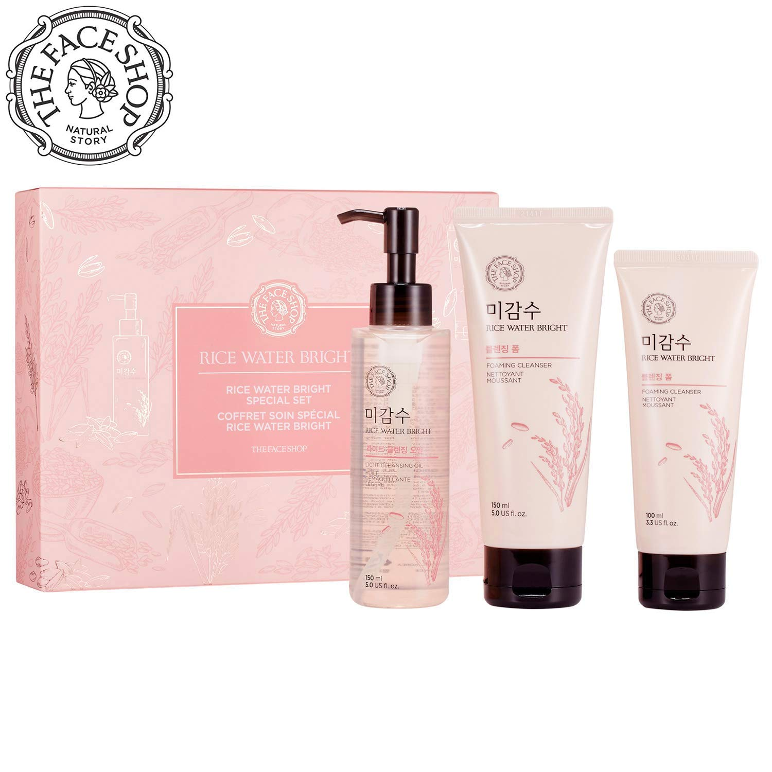 [THEFACESHOP] Rice Water Face Wash Set - Bright Foaming Facial Cleanser 150ml + Light Cleansing Oil 150ml with an Extra Cleansing Foam 100ml by THEFACESHOP