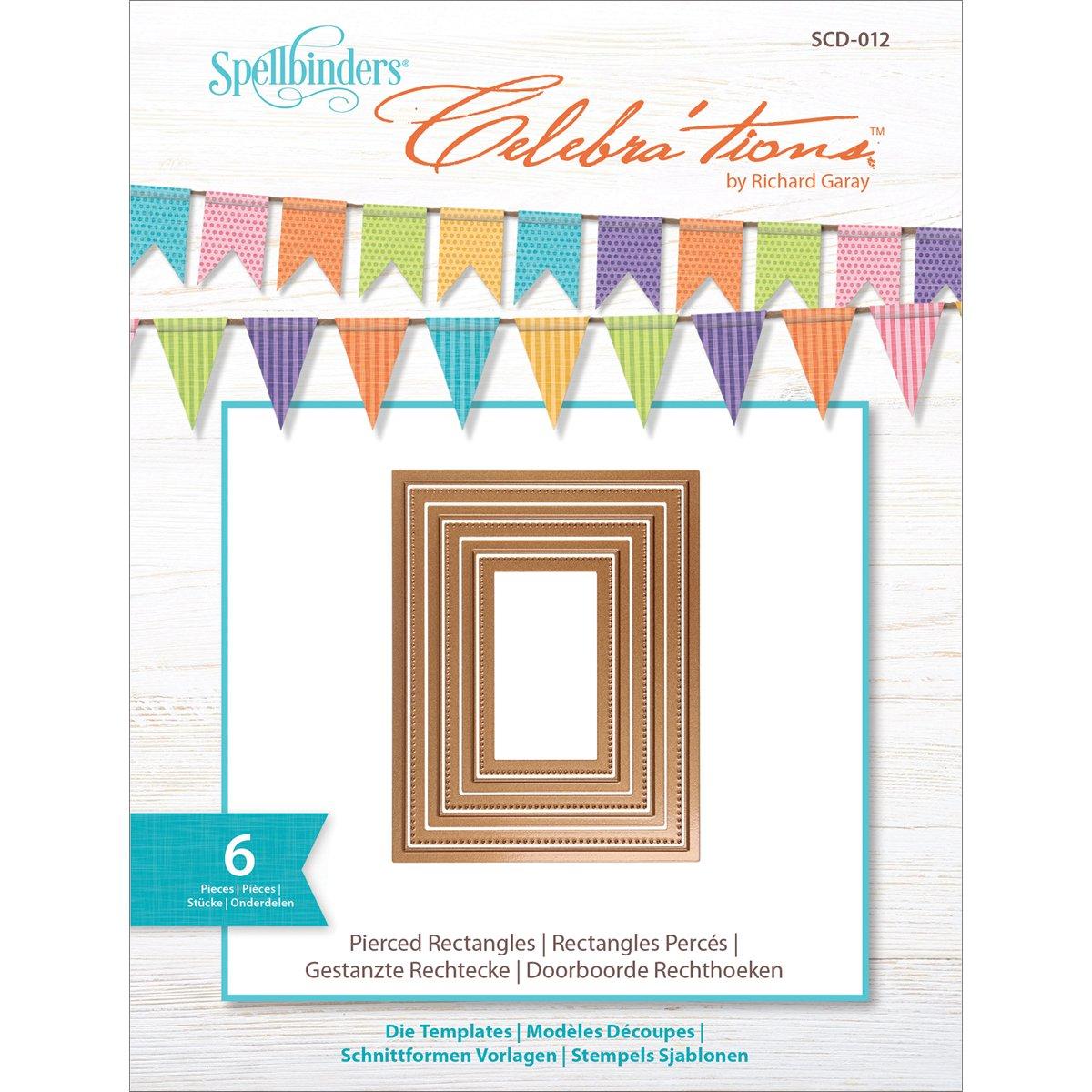 Spellbinders Celebrations Metal Paper Cutting Die Template, Pierced Rectangles (Set of 6)-SCD-012