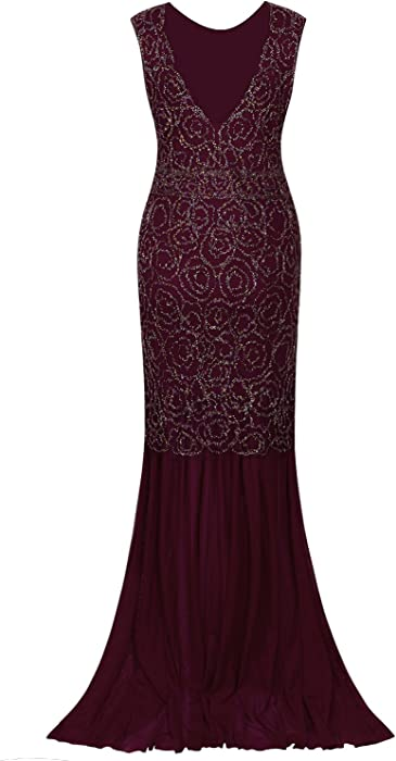 1b81b656478d3 Vijiv 1920s Long Prom Dresses V Neck Beaded Sequin Gatsby Maxi Evening Dress