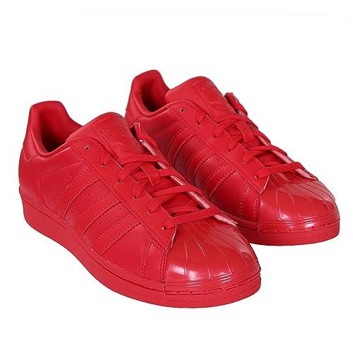 adidas Shoe Wmns Superstar Glossy Toe Damen Low Sneaker Rot