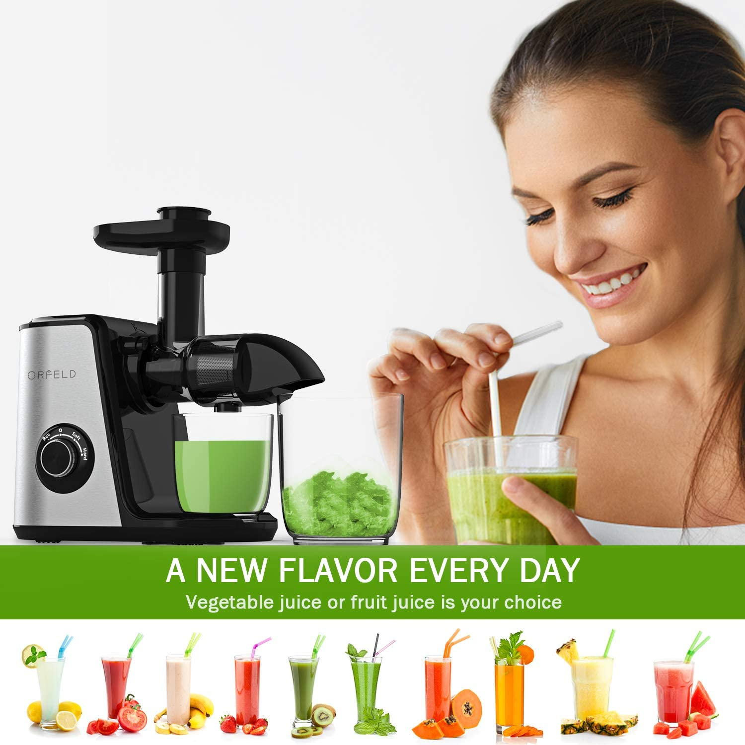Cold Press Juicer Easy to Clean Quiet motor&BPA-Free Reverse ...