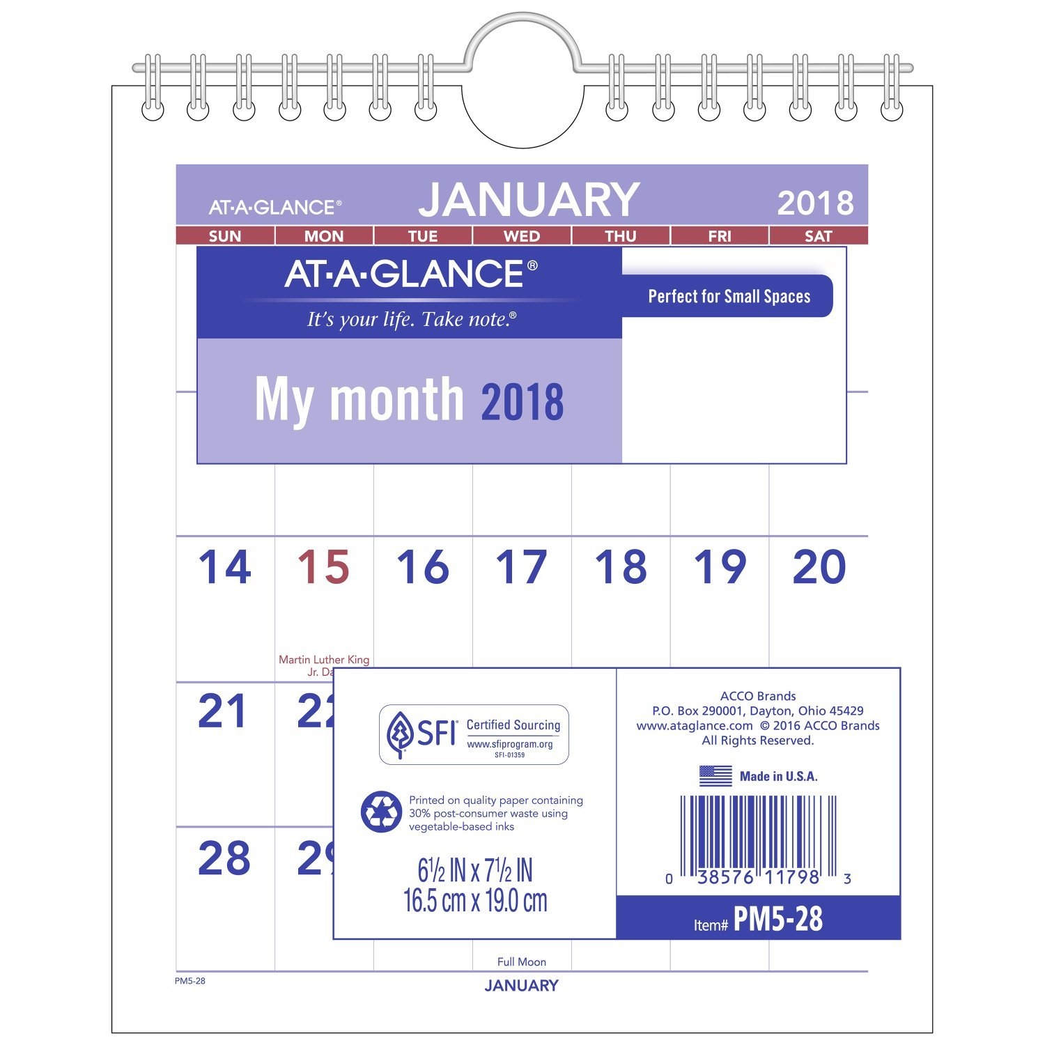 """At-A-Glance PM528-18 Monthly Wall Calendar, January 2018 - December 2018, 6-1/2"""" x 7-1/2"""", Mini Size (PM528)"""