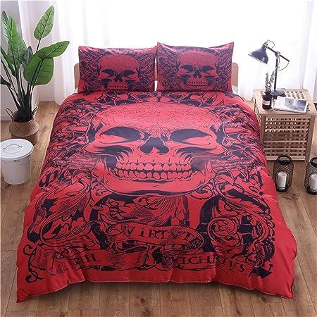 WONGS BEDDING Bettwäsche 3D Roter Schädel Bettbezug Set 135x200 cm Bettwäsche Set 2 Teilig Bettbezüge Mikrofaser Bettbezug mit Reißverschluss und 1
