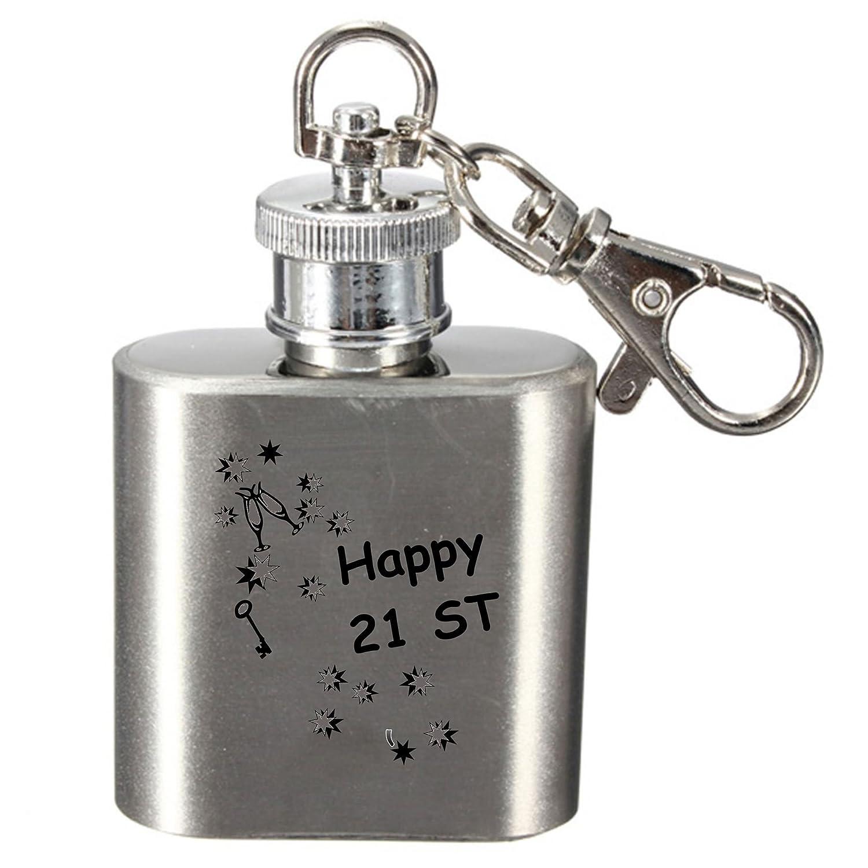 数量限定価格!! 1ozキーリングステンレススチールヒップフラスコ 21st – – Happy Happy 21st Birthdayキーデザイン B01CEI795Y, オモテゴウムラ:e69f848f --- sparkinsun.com