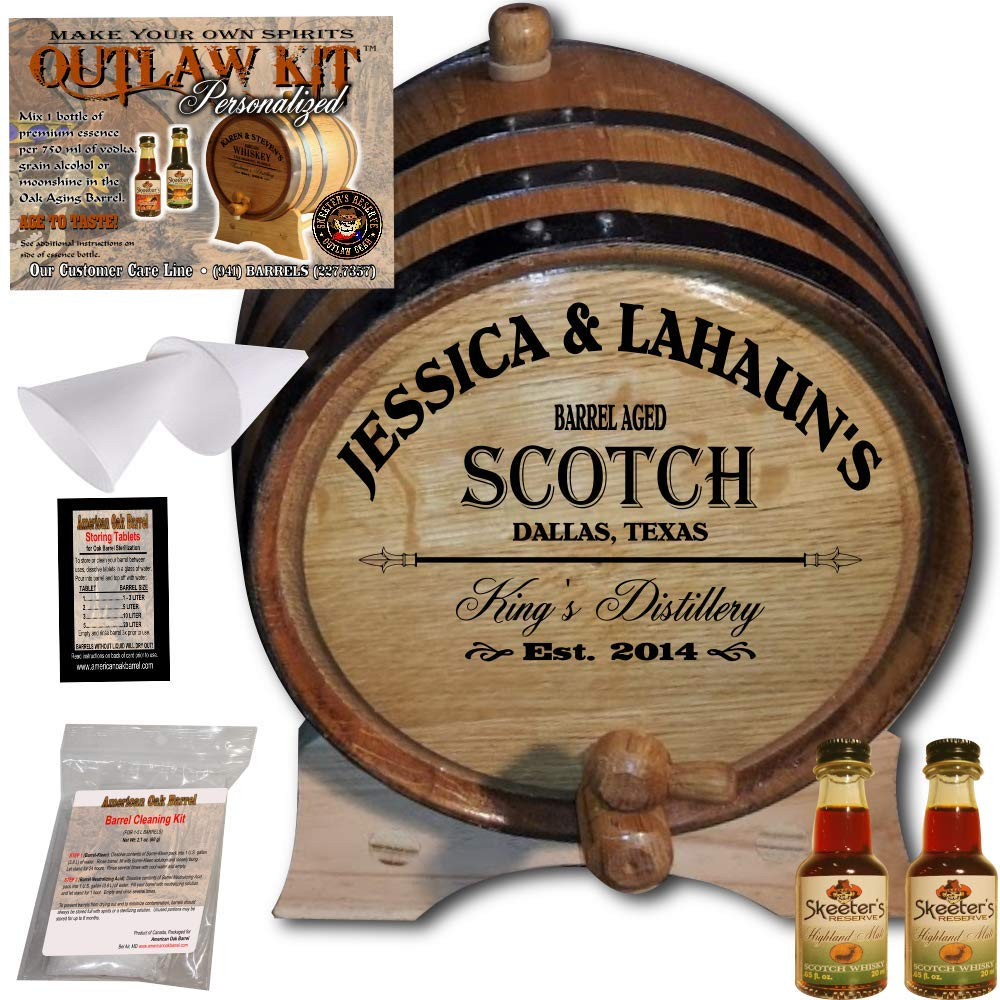 Personalized Whiskey Making Kit (061) - Create Your Own Highland Malt Scotch Whiskey - The Outlaw Kit from Skeeter's Reserve Outlaw Gear - MADE BY American Oak Barrel - (Oak, Black Hoops, 2 Liter)