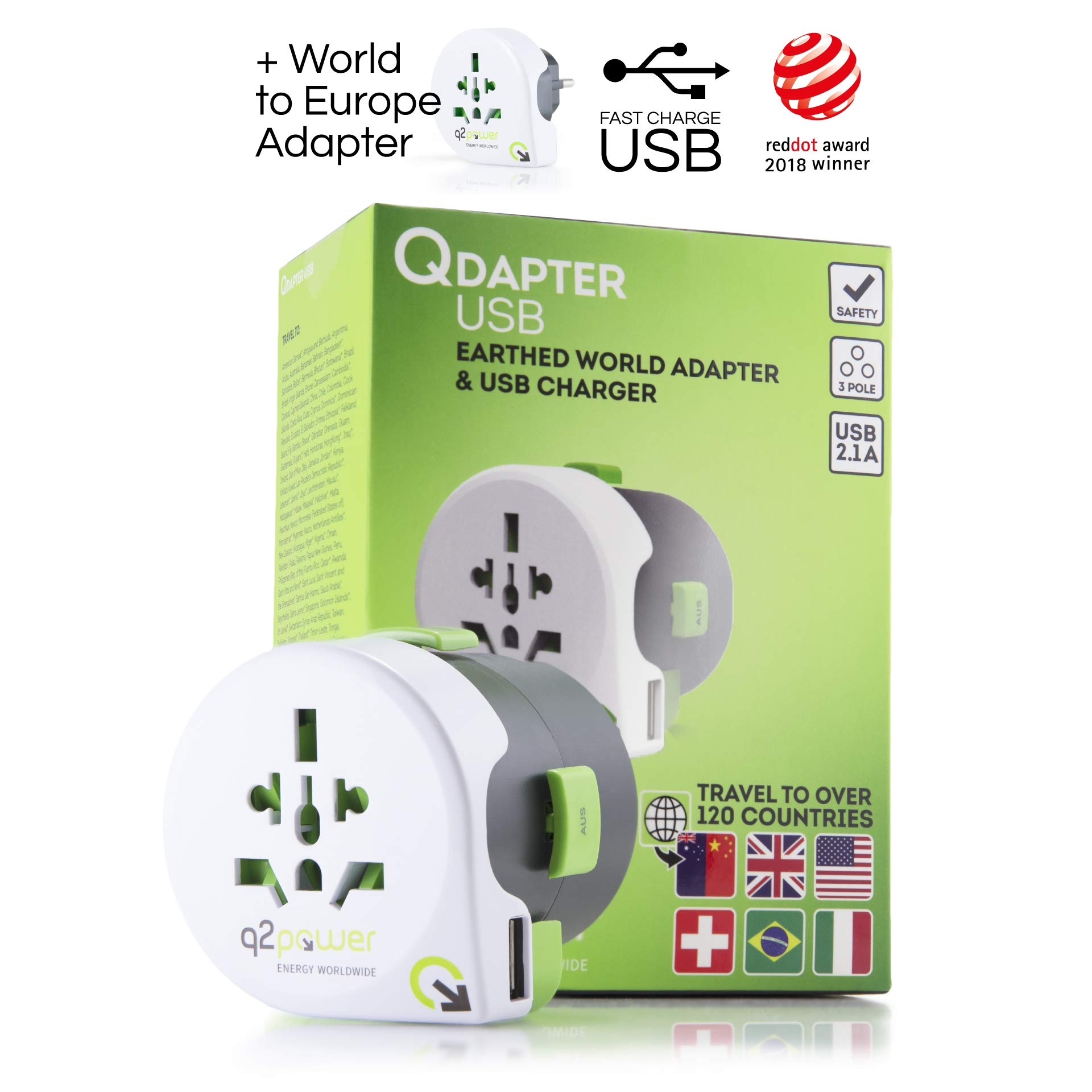 World Travel Adapter with USB Charger, Qdapter 360 by Q2Power, All-in-One International Travel Plug, Grounded & Safe by q2power