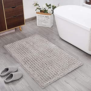 DEARTOWN Non-Slip Shaggy Bathroom Rug,Soft Microfibers Bath Mat with Water Absorbent, Machine Washable (20x32 Inches, Beige)