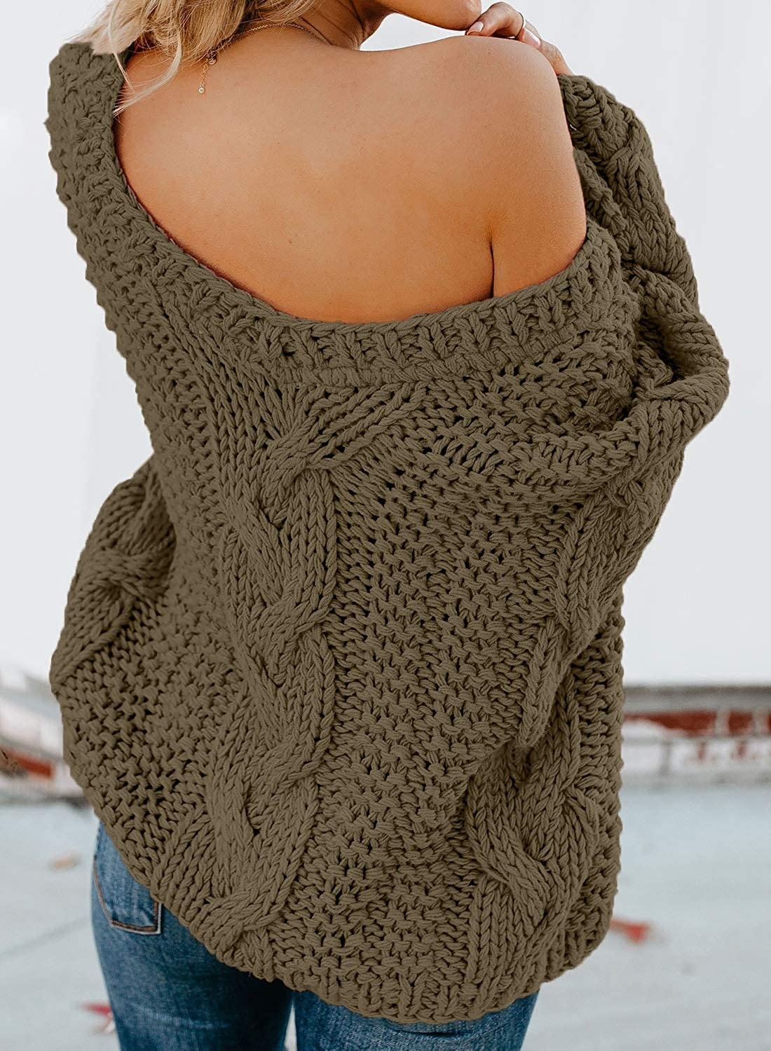 Zecilbo Womens Off Shoulder V Neck Cable Knit Sweater Casual Loose Long Sleeve Chunky Jumper Tops