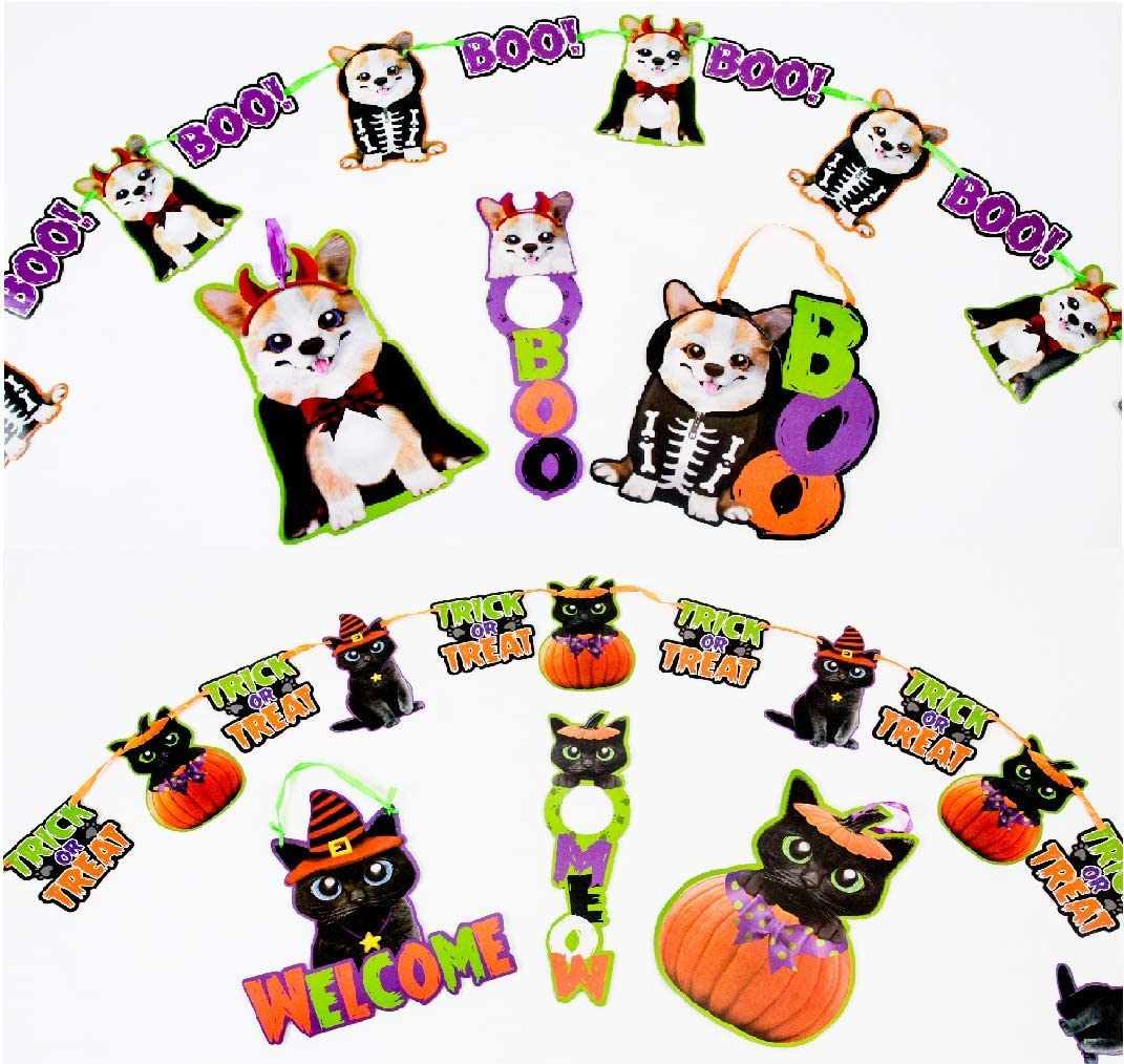 Halloween Decorations Black Cats and Dogs Kid Friendly Not So Scary Banners Cut Outs with Ribbon Hangers Doorknob Hangers Pet Theme Classroom Party Décor 8 Pieces