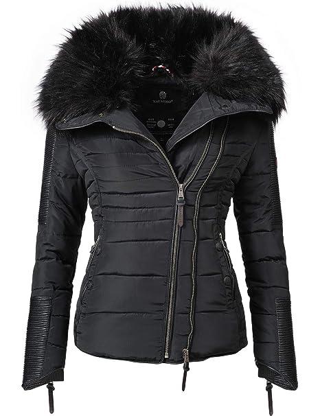 Navahoo Yuki2 Chaqueta de Invierno para Mujer con Capucha de Pelo sintético Negro 10 Colores XS-XL