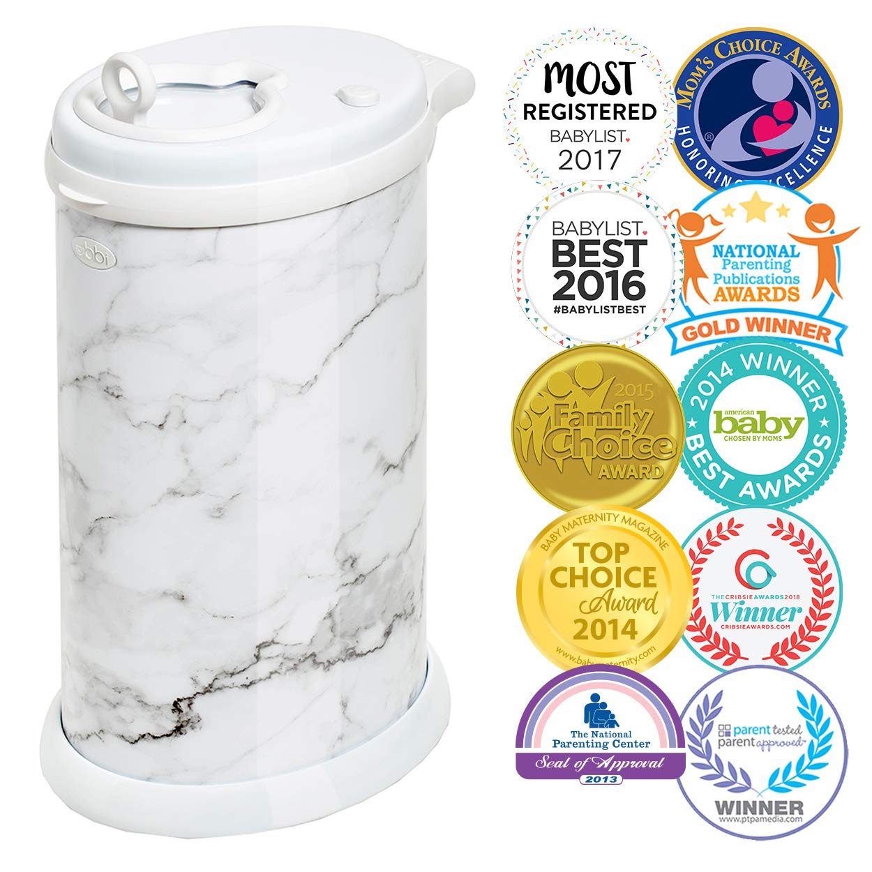Ubbi Steel Odor Locking, No Special Bag Required Money Saving, Awards-Winning, Modern Design Registry Must-Have Diaper Pail, Marble by Ubbi (Image #1)