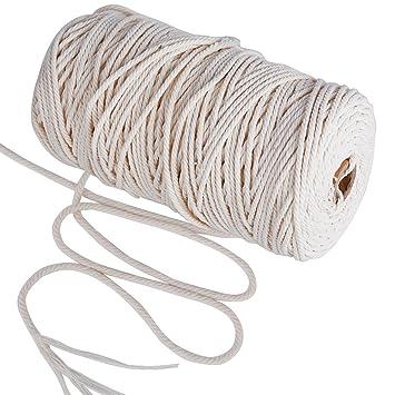 378509c3a762 200m Cuerda Cordel de Algodón Hilo Macramé, 3 mm de diámetro, para Envolver  Regalo Navidad, Colgar Fotos, Manualidades, Costura, DIY Artesanía