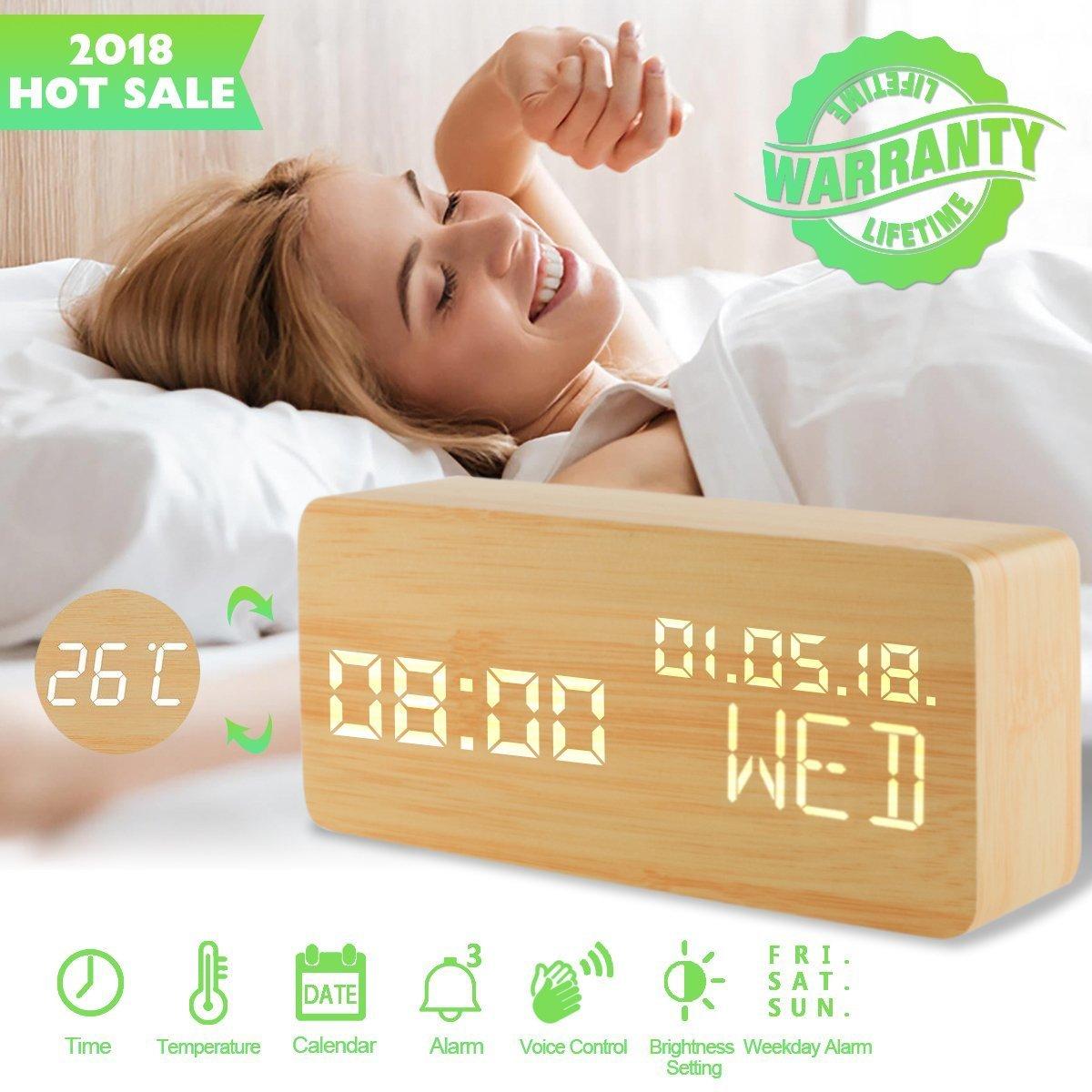 Luckymore Alarm Clock,Wood Alarm Clock Digital Clock LED Small Desk Clock Voice Command Beside Wooden Clock Modern Decoration Mini Alarm Clocks 3 Alarms 3 Level Brightness Show Time Date Week by Luckymore