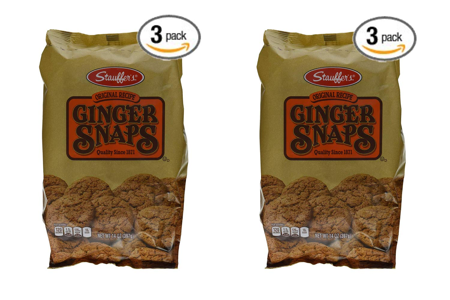 Stauffers Cookie Ginger Snap, Original, 14 Ounce (Pack of 3) (2 Pack)