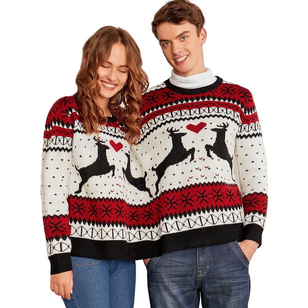 charmma crew neck long sleeve two person knit pullover ugly christmas sweater colormix 2 one size at amazon womens clothing store