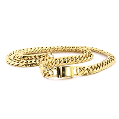 f742119cb32ee Solid 14k Yellow Gold Finsh Stainless Steel 13mm Thick Miami Cuban ...